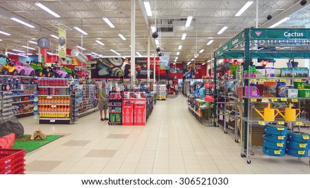 TORONTO, CANADA - JULY 27, 2015: The interior of a Canadian Tire store in Toronto, Canada.  - stock photo