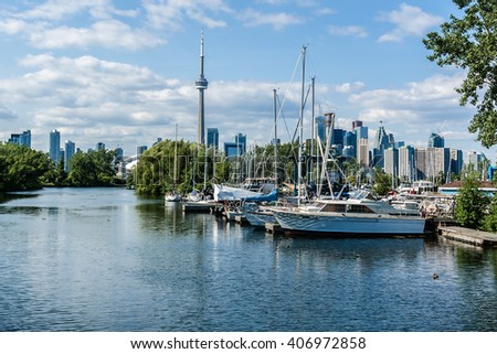 TORONTO, CANADA - JULY 23, 2014:  View of Royal Canadian Yacht Club, founded in 1852, is one of the worldâ??s older and larger yacht clubs. Toronto, Ontario, Canada. - stock photo