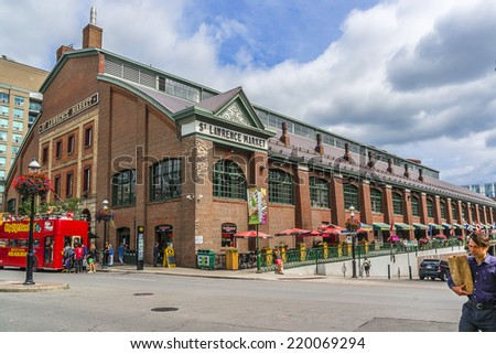 TORONTO, CANADA - JULY 23, 2014: View of St Lawrence Market in central Toronto. This massive 19th century brick building is home to the city�s largest market. - stock photo