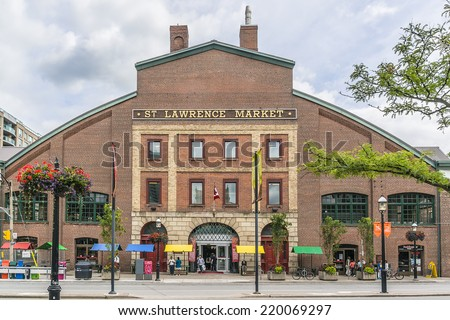 TORONTO, CANADA - JULY 23, 2014: View of St Lawrence Market in central Toronto. This massive 19th century brick building is home to the city�s largest market.