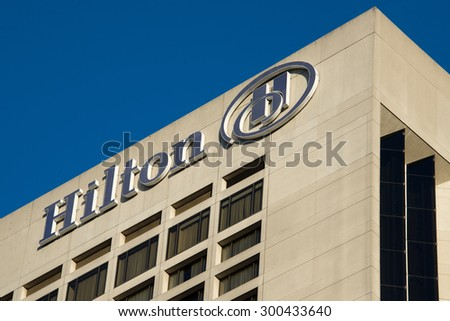 TORONTO,CANADA-JUNE 25,2015: Hilton Hotel in downtown is an international brand of hotels and resorts around the world. It has been with visited by famous artists and personalities - stock photo