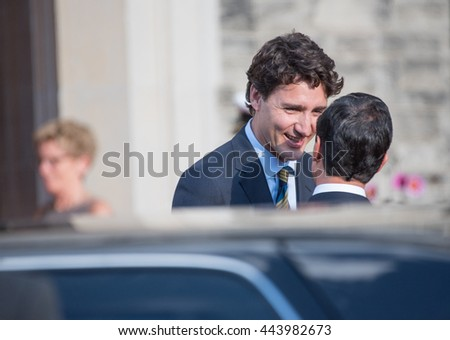 TORONTO,CANADA-JUNE 27,2016:Justin Trudeau (PM of Canada), receives Enrique Pena Nieto (President of Mexico) at Casa Loma for a dinner. Pena Nieto is attending the Three Amigos summit.