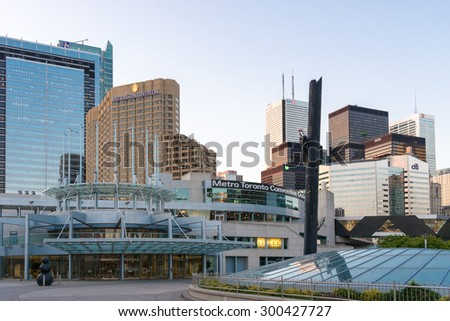 TORONTO,CANADA-JUNE 25,2015: Metro Toronto Convention Centre in Toronto downtown .  Prominent in the front is the Metro Toronto Convention Center, but there are several buildings clustered together.