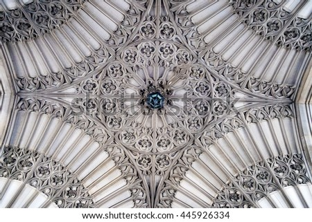 TORONTO,CANADA-JUNE 6,2016: University of Toronto: Soldiers tower architectural decoration in the ceiling.The Gothic Revival Tower was designed by architects Henry Sproatt and Ernest Ross Rolph