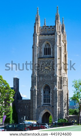 TORONTO,CANADA-JUNE 6,2016: University of Toronto: Soldiers Tower is a memorial to alumni fallen in wars. The Gothic Revival Tower was designed by architects Henry Sproatt and Ernest Ross Rolph
