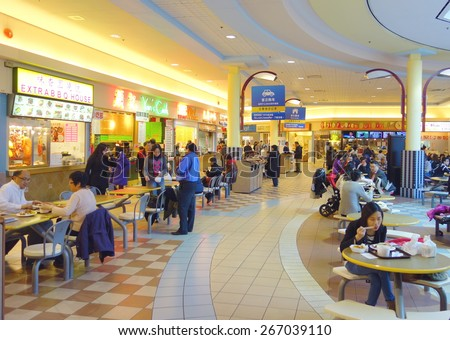 TORONTO, CANADA - MARCH 27, 2015: A food court in a Chinese shopping center in Toronto, Canada. - stock photo