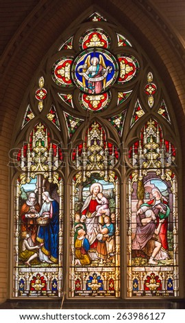 TORONTO,CANADA-MARCH 15,2015:Beautiful stained glass windows at the Church of the Redeemer which is one of the oldest churches in town and part of the city heritage