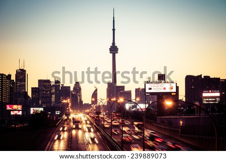 TORONTO,CANADA-MARCH 23,2013: Downtown Toronto during the rush hour morning traffic. Toronto is the Capital of Ontario and the most important financial centre in Canada