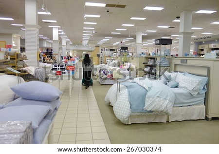 TORONTO, CANADA - MARCH 25, 2015: Mattress and bedding department in a department store in Toronto, Canada. - stock photo