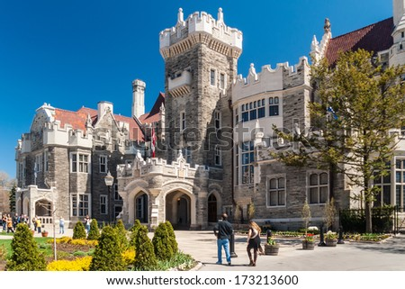 TORONTO, CANADA - MAY 3, 2007: Casa Loma, one of Toronto's top ten tourist attractions. Casa Loma and its Estate Gardens are visited by around 300 thousands visitors each year. - stock photo