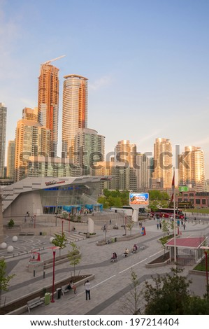 TORONTO, CANADA - MAY 31, 2014: Entrance to Ripley's Aquarium of Canada in Toronto. The Aquarium is a 12,500 square-metre and more than 5.7 million liters of water. - stock photo