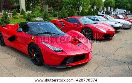 TORONTO, CANADA - MAY 29, 2016: Ferrari cars parked during a street event in Toronto, Canada.