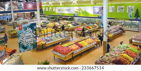 TORONTO, CANADA - NOVEMBER 15, 2014: A view of a Loblaws supermarket in Toronto, Canada. - stock photo