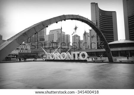 TORONTO, CANADA - NOVEMBER 21, 2015: A view of the skating rink in Nathan Phillips Square in Toronto, Canada. - stock photo