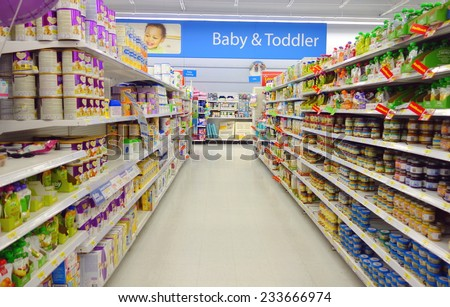 TORONTO, CANADA - NOVEMBER 22, 2014: Baby and toddler food selection in a supermarket in Toronto, Canada. - stock photo