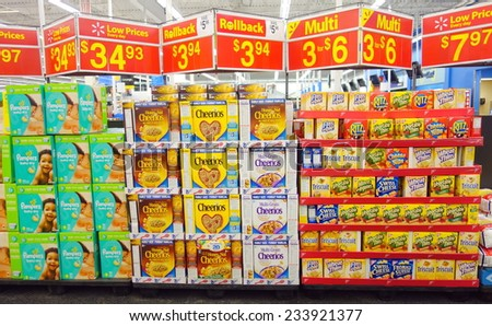 TORONTO, CANADA - NOVEMBER 22, 2014: Products on sale in a a supermarket in Toronto, Canada.