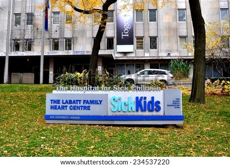 Toronto, Canada - November 7, 2014: Signage in front of Sick Kids Hospital in Toronto. - stock photo