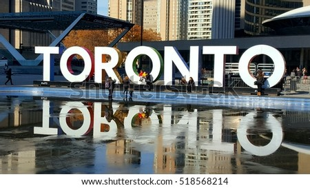 TORONTO, CANADA - NOVEMBER 18, 2016: The Toronto sign in Nathan Phillips Square in Toronto, Canada.