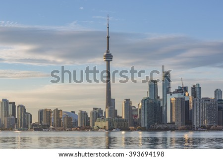 TORONTO, CANADA - NOVEMBER 02, 2015: Toronto skyline at sunset
