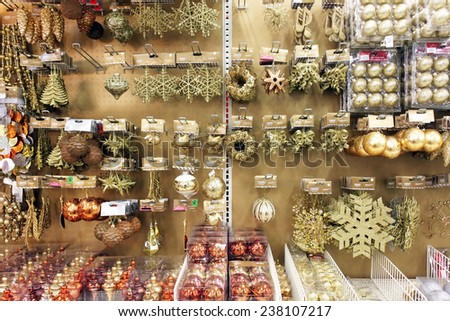 TORONTO, CANADA - NOVEMBER 28, 2014: Variety of Christmas ornaments on display in a store on November 28, 2014 in Toronto, Ontario, Canada.