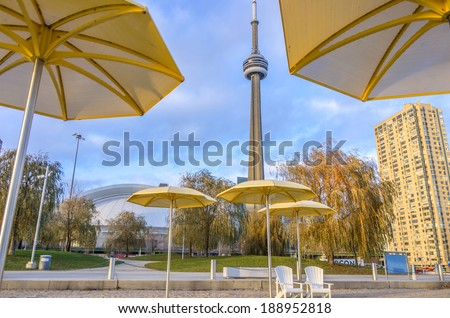 TORONTO,CANADA - NOVEMBER 25, 2013: view of CN tower,Toronto. The CN tower, completed in 1976, is one of the highest free-standing structures in the world,with his 553 meter height - stock photo