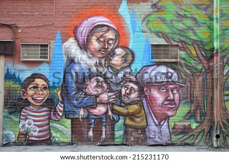 Toronto, Canada - October 21, 2013: Beautiful street arts hidden in one of Toronto alleys and streets.  - stock photo
