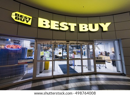 TORONTO,CANADA-OCTOBER 2, 2016: Best Buy Electronic store entrance in a Canadian mall. Best Buy is an American multinational consumer electronics corporation.