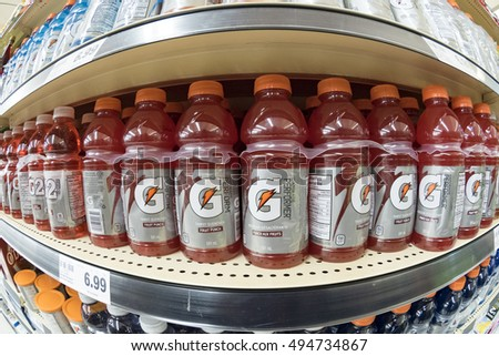 TORONTO,CANADA-OCTOBER 2, 2016: Gatorade Performer energy drink, arranged in a store shelf. The Gatorade Company, Inc. is an American manufacturer of sports-themed beverage and food products