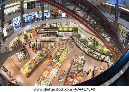 TORONTO,CANADA-OCTOBER 2, 2016: Loblaws  at North York mall.  Loblaws is a supermarket chain with over 2000 stores in Canada, it's Canada's largest food distributor.