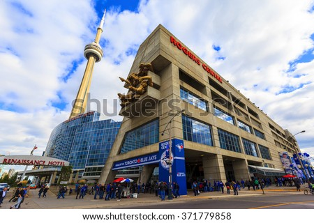 TORONTO CANADA  17-10-2015: Outside the Rogers Centre before a Blue Jays baseball game. The Blue Jays were founded in Toronto in 1977, initially owned by the Labatt Brewing Company. - stock photo