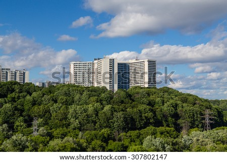 TORONTO, CANADA - 23RD JUNE 2015: Buildings in Thorncliffe along the Don Valley Parkway in Toronto.