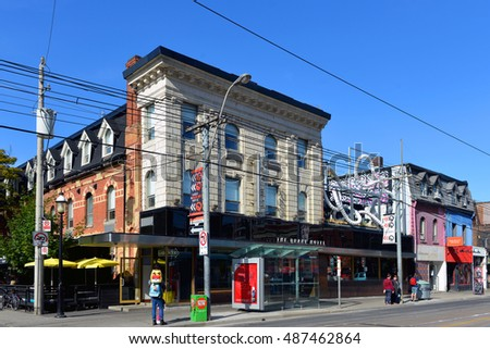TORONTO, CANADA SEP 16, 2016: The Drake Hotel is a popular and historic boutique hotel, restaurant, cafe including an underground basement nightclub featuring live performances on trendy Queen St West