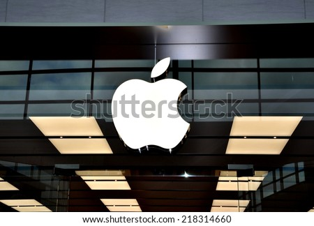Toronto, Canada - September 13, 2014: Signage of Apple company in front of their store in Toronto. - stock photo