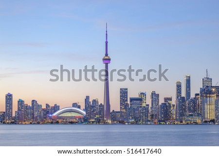 TORONTO, CANADA - SEPTEMBER 15, 2015: View of Downtown Toronto skyline  at sunset.