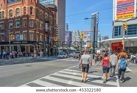 Toronto, Canada - September 24, 2015: View of the downtown with people in a sunny day