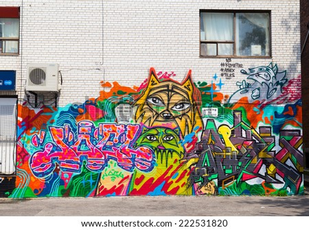 TORONTO, CANADA - 12TH JULY 2014: Wall art along Bloor Street in Korea Town