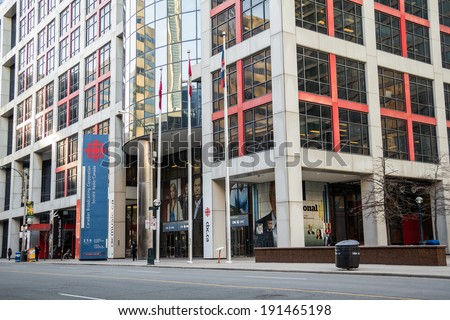 TORONTO - CIRCA APR 2014: The Canadian Broadcasting Corporation building, located in downtown Toronto, Canada on Front Street. - stock photo