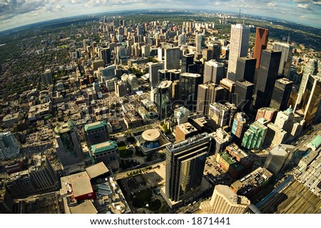 Toronto City Center - Aerial photograph - Fisheye