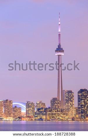 Toronto city dusk over lake with colorful light. - stock photo