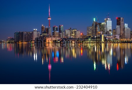 Toronto City Skyline Reflection - stock photo