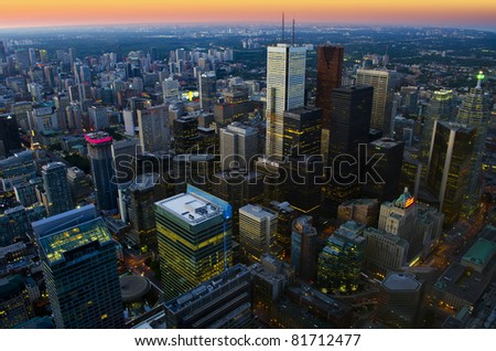 Toronto cityscape at dusk - aerial view - stock photo