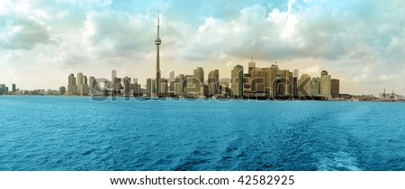 Toronto Cityscape colored panorama, Ontario Lake. Canada - stock photo