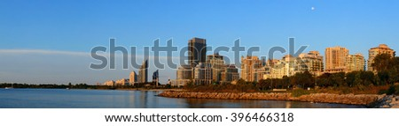 Toronto cityscape panorama at waterfront in the morning after sunrise. - stock photo