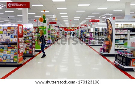 TORONTO - DECEMBER 14: A Target store on December 14, 2013 in Toronto, Canada. The Target Corporation is an American retailing company, founded in 1902 and headquartered in Minneapolis, Minnesota. - stock photo