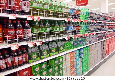 TORONTO - DECEMBER 14: Bottled soft drinks in a supermarket on December 14, 2013 in Toronto. From 1977 to 2002, Americans doubled their consumption of sweetened beverages. - stock photo