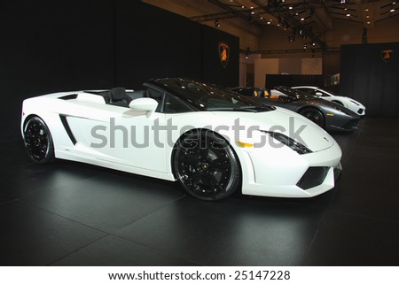 TORONTO, FEBRUARY 11: A Lamborghini was on  display at the Canadian International AutoShow 2009 held in Toronto, Canada on Feb. 11, 2009. Estimated value of all the cars on display is $30,000,000. - stock photo