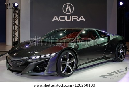 TORONTO-FEBRUARY 14:  Acura NSX Concept at the 2013 Canadian International Auto Show on February 14, 2013 in Toronto - stock photo