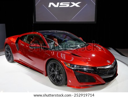 TORONTO-FEBRUARY 12: at the 2015 Canadian International Auto Show  Acura NSX 2 with V6 that produces 550 horsepower will have estimated start price at around 150,000 dollars - stock photo