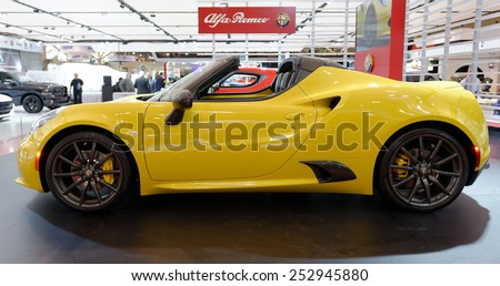 TORONTO-FEBRUARY 12: at the 2015 Canadian International Auto Show, Alfa Romeo Spider is coming to North Ameriva, but just 400 a year - stock photo