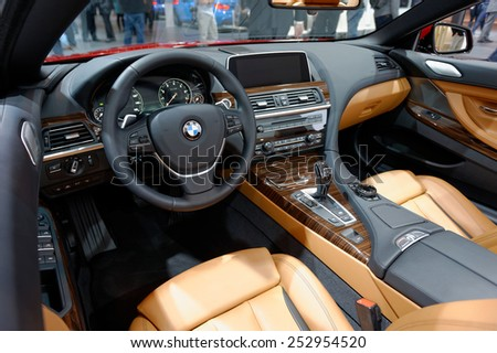 TORONTO-FEBRUARY 12: at the 2015 Canadian International Auto Show, BMW 6 Cabriolet cockpit  on February 12, 2015 in Toronto  - stock photo